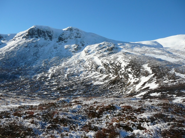 Carn Dearg (left of centre) in winter conditions | Scotland In View